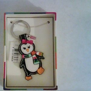Coach Patent Leather Penguin Keychain Fob New